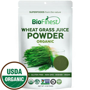Biofinest Wheat Grass Juice Powder - 100% Pure Freeze Dried Organic USDA certified.