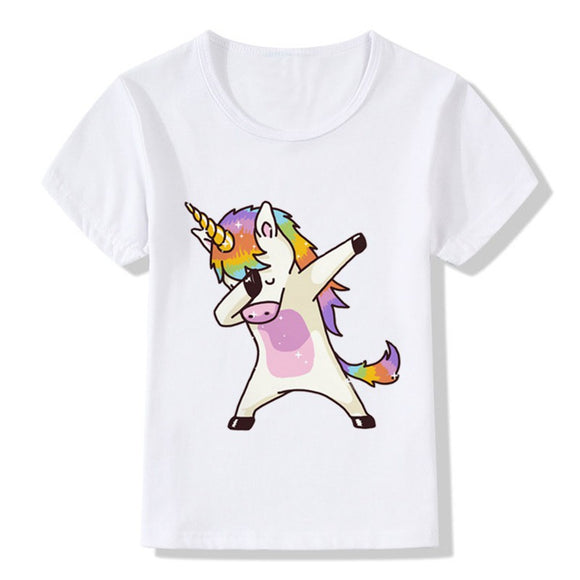 2018 Summer Children Clothing Dab Unicorn Lovely Cute T-Shirts Kids Summer Tops Girls Boys O Neck Short Sleeve Tees Baby Clothes