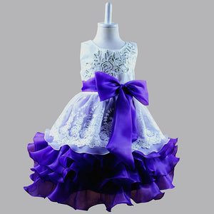 4 Colors Fashion Kids Ceremonies Party Dresses Ruffles Children's Princess Wedding Gown Little Baby Girl Dress Shipping From US