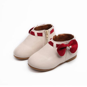 Baby Girls Casual Shoes Children Bowknot Solid Color PU Leather Sneaker Boots Zipper Fashion Boots Chaussure Femme @6122
