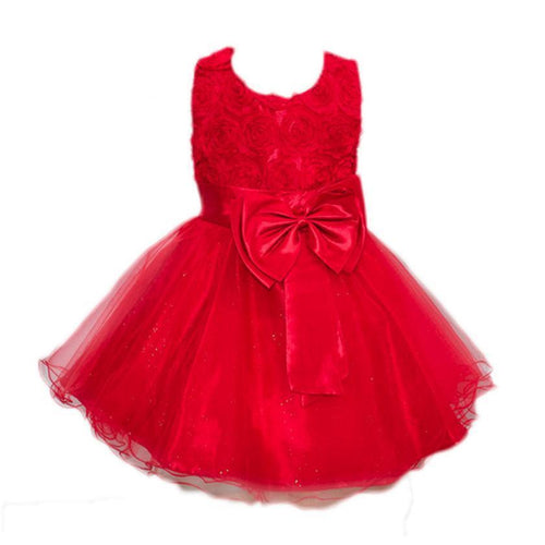 Big Bow Tutu Princess Dress Baby Girls Party Wedding Dresses White Pink Red Purple Hot Pink Flower Children's Clothes Kids Dress