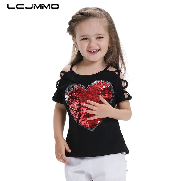 LCJMMO Fashion Cotton Summer Girls T-shirts With Sequins Discoloration Children Clothes Girl Short Sleeves Tshirts Kids Tee Tops