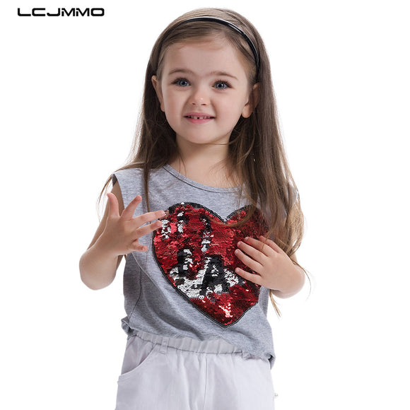 LCJMMO High Quality New Girls T-Shirt 2017 Summer Childen Cotton Sequins T-shirt For Girl Tops O-neck Kids Clothes For 3-7 Years