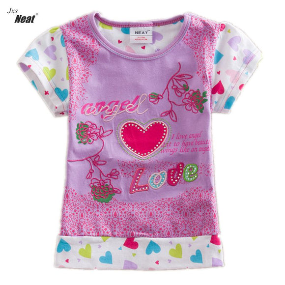 Neat retail short sleeve T-shirt  summer cotton baby girl clothes children clothes kids clothing for girls S2133#