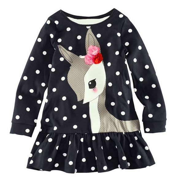 Long Sleeve Cotton Polka Dots Dress T-Shirt