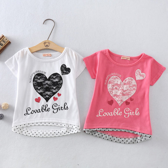 New summer girls, pure cotton lace embroidery, short sleeved T-shirt,  fashionable casual style free