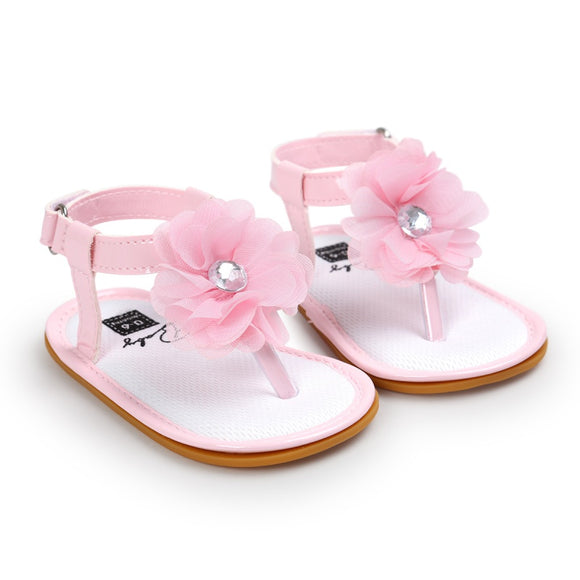 Summer New Baby Sandals Shoes Skidproof Toddlers Infant Baby Flower Shoes PU Leather Sandals 0-18M USA Shipping