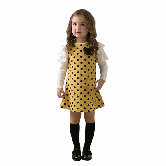 Toddler Kids Baby girls dress Dot Bow Princess Dress Sundress Outfits Clothes super quality girls clothes vestido infantil hot
