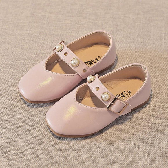 Toddler Kids Girls Baby Soft Sole PU Leather Shoes Girls Buckle Beading Princess Sandals Single Casual fashion Shoes All Seasons