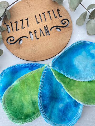 Blue and Green Minky Makeup Wipes