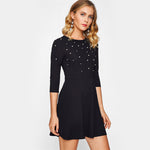 Fit & Flare 3/4 Sleeve Skater Dress Women