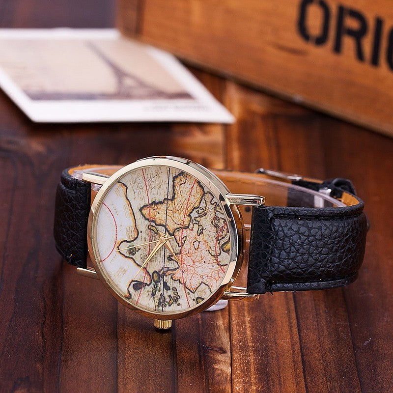 Casual Leather Strap World Map Watches