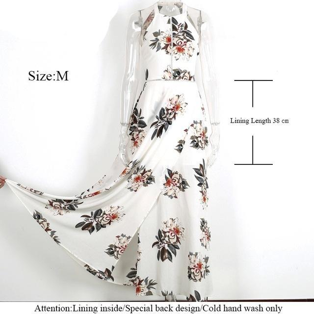 Floral Halter Chiffon Dress Women