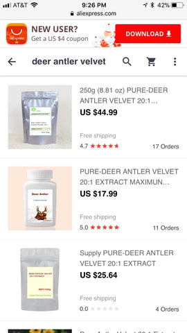 Ordering deer velvet supplements on Ali Express