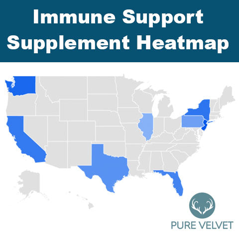 Map of where immune support vitamin searches have surged in the USA