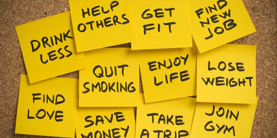New Years Resolutions on Sticky Notes