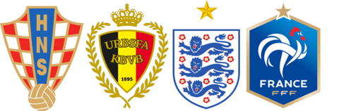 Belgium French English Croatia medieval soccer emblems