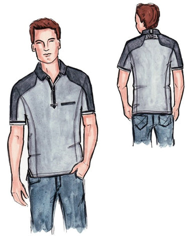otero menswear polo t shirt for short men sketch prototype