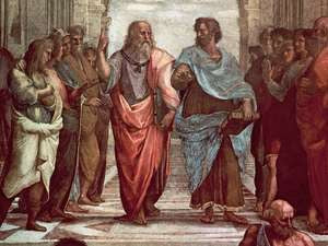 Aristotle talking with fellow philosophers