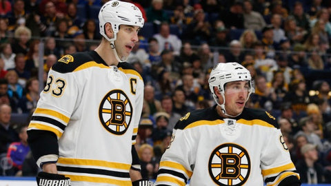 Brad Marchand and  Zdeno Chara standing next to each other on the ice