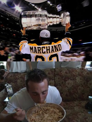 Brad Marchand eating cinnamon toast crunch out of the Stanley Cup