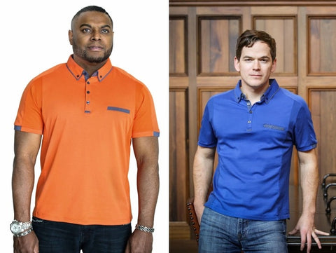 otero menswear models in polos with side panels sean bobby bryant