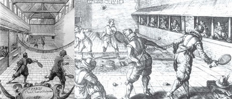 men dressed in fancy lace clothing playing what look like hand ball - possible origins of tennis
