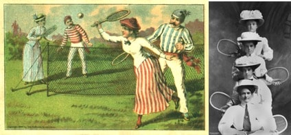 women playing tennis in victorian dress clothes