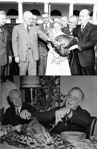 president truman receiving a turkey from the National Turkey Federation and eating it