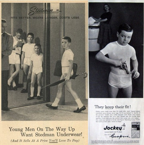 1950s boys underwear marketing ad kid sticking gun in underwear