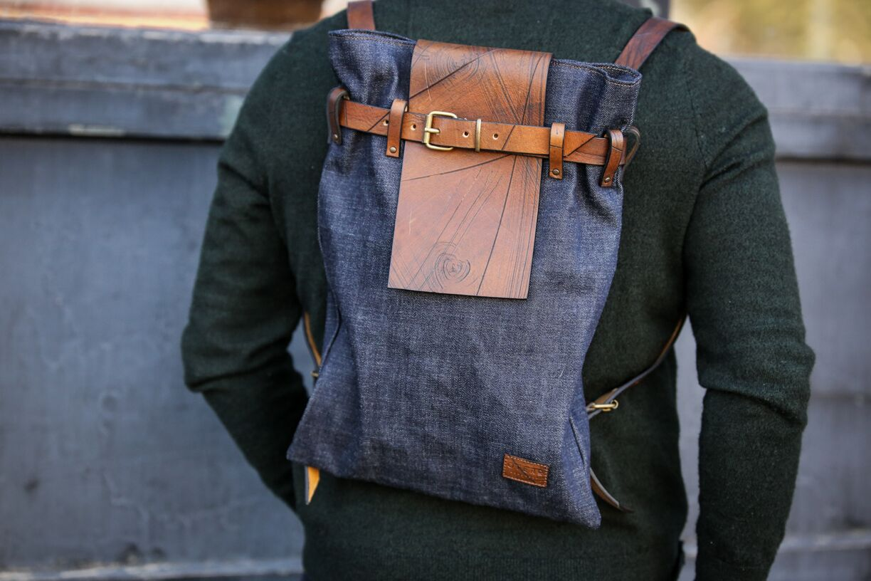 brown full grain urban denim leather backpack