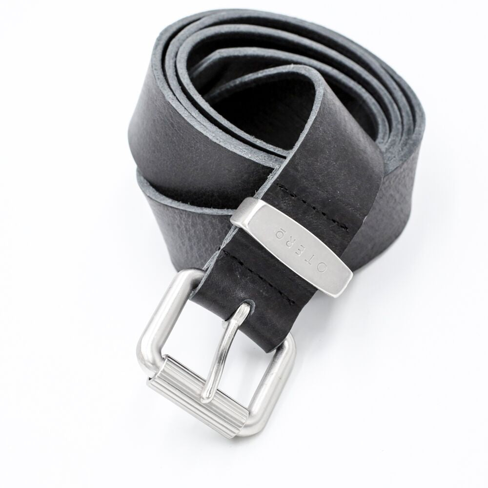 otero menswear classic black leather belt
