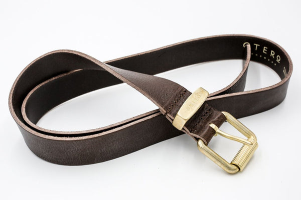 otero menswear gold loop and buckle classic leather belt