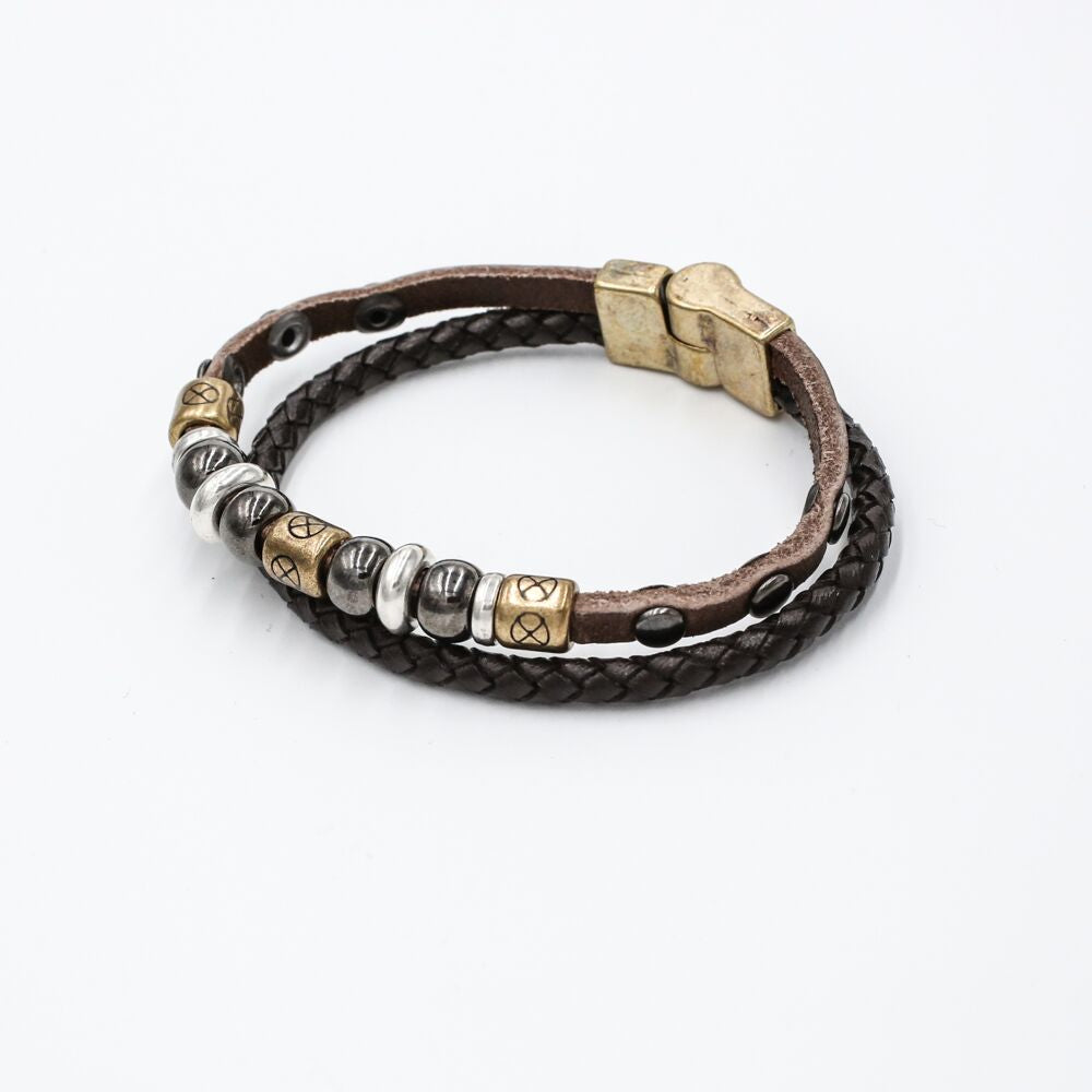 double braided leather bead bracelet