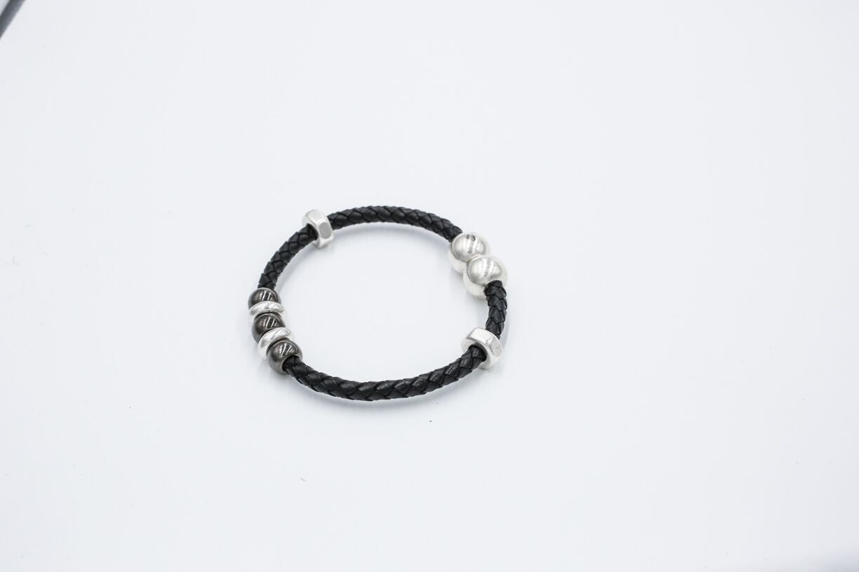 black braided leather magnetic