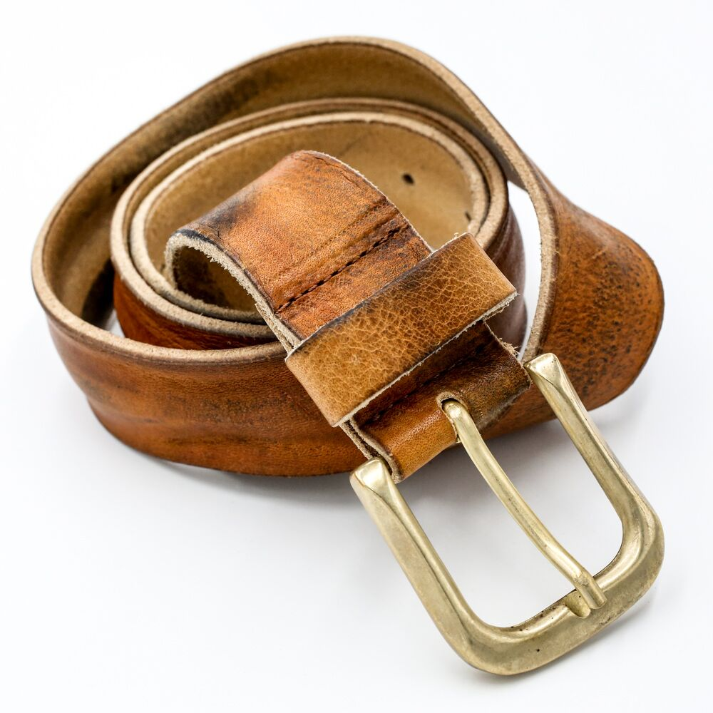 distressed brass buckle leather belt