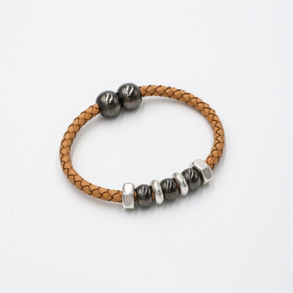 neutral braided leather bracelet
