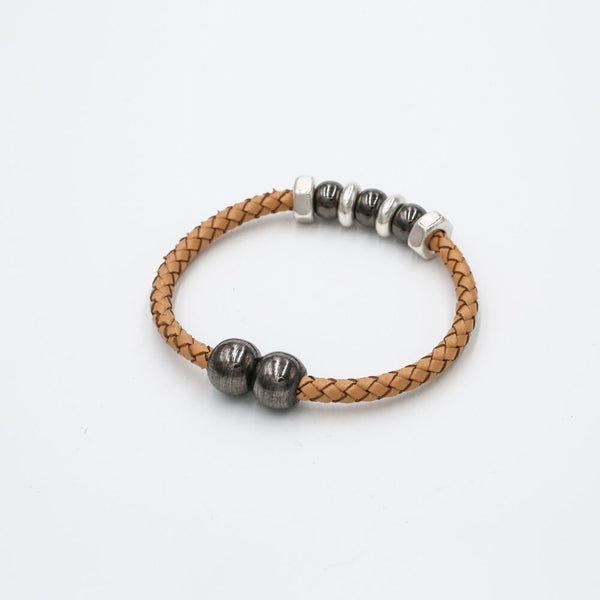 neutral braided leather bracelet magnetic
