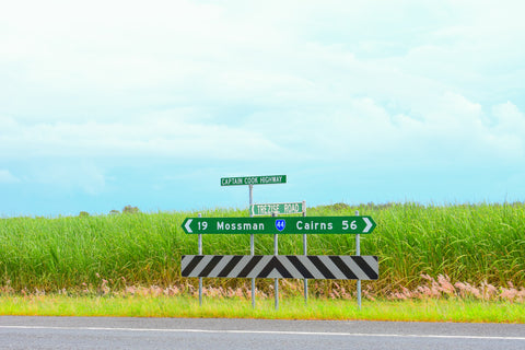 Captain Cook highway Mossman Cairns roadsign