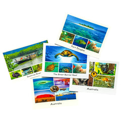 5 assorted postcards of the Great Barrier Reef, Daintree Rainforest, Australia and Australian Native Animals such as koala and kangaroo
