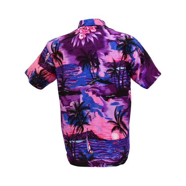 Hawaiian men's shirt - pink, purple & blue sunset-Oz About Oz