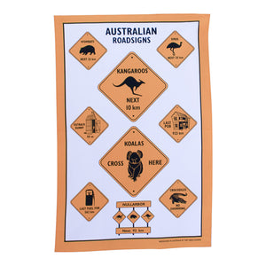 Tea towel - Australian road signs-Tea towel-Oz About Oz