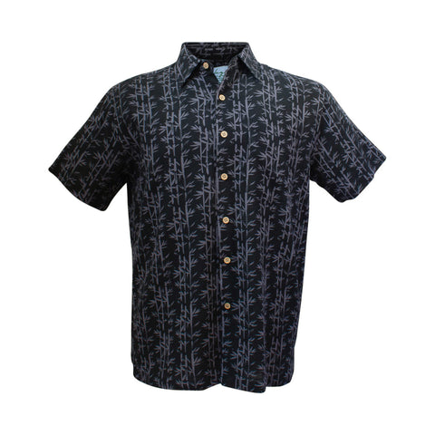 Men's bamboo shirt - black palm-Bamboo men's shirt-Oz About Oz