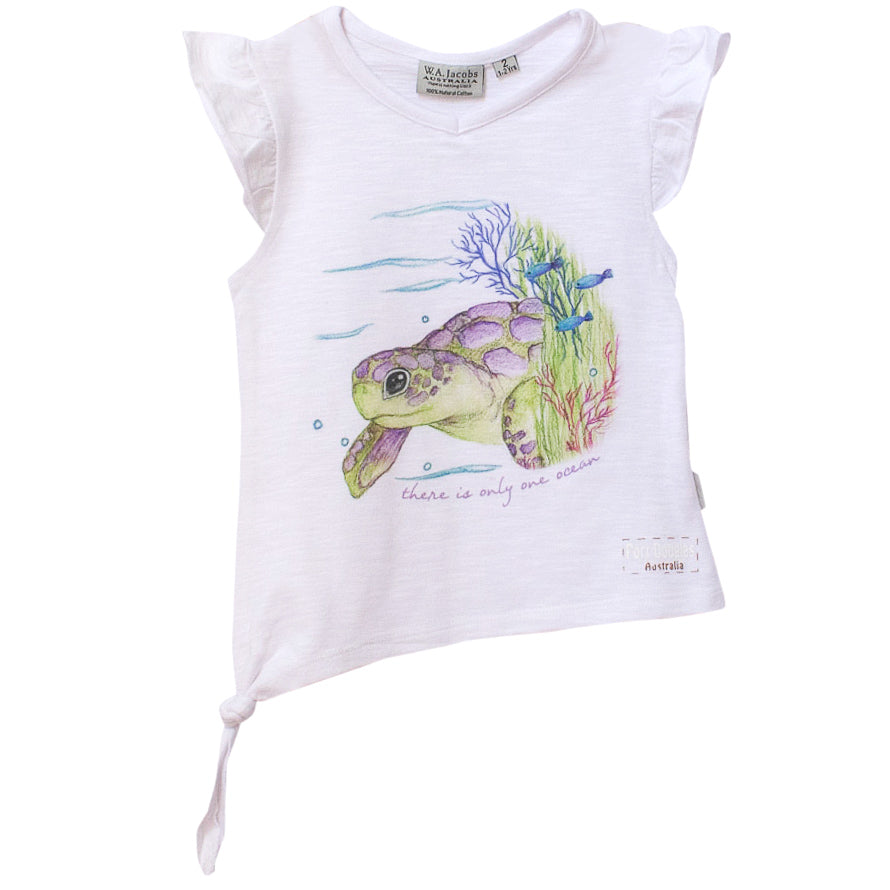 Girls' t shirt - turtle there's only one ocean-Girl's t-shirt-Oz About Oz