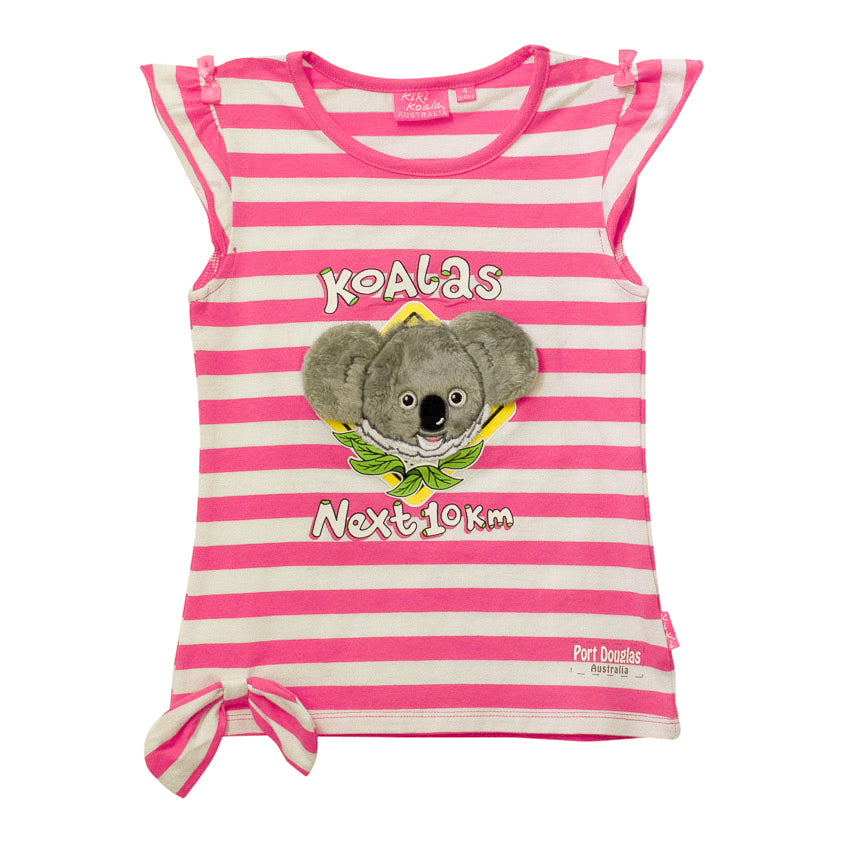 Girls' t shirts - koala on pink and white stripes-Girl's t-shirt-Oz About Oz