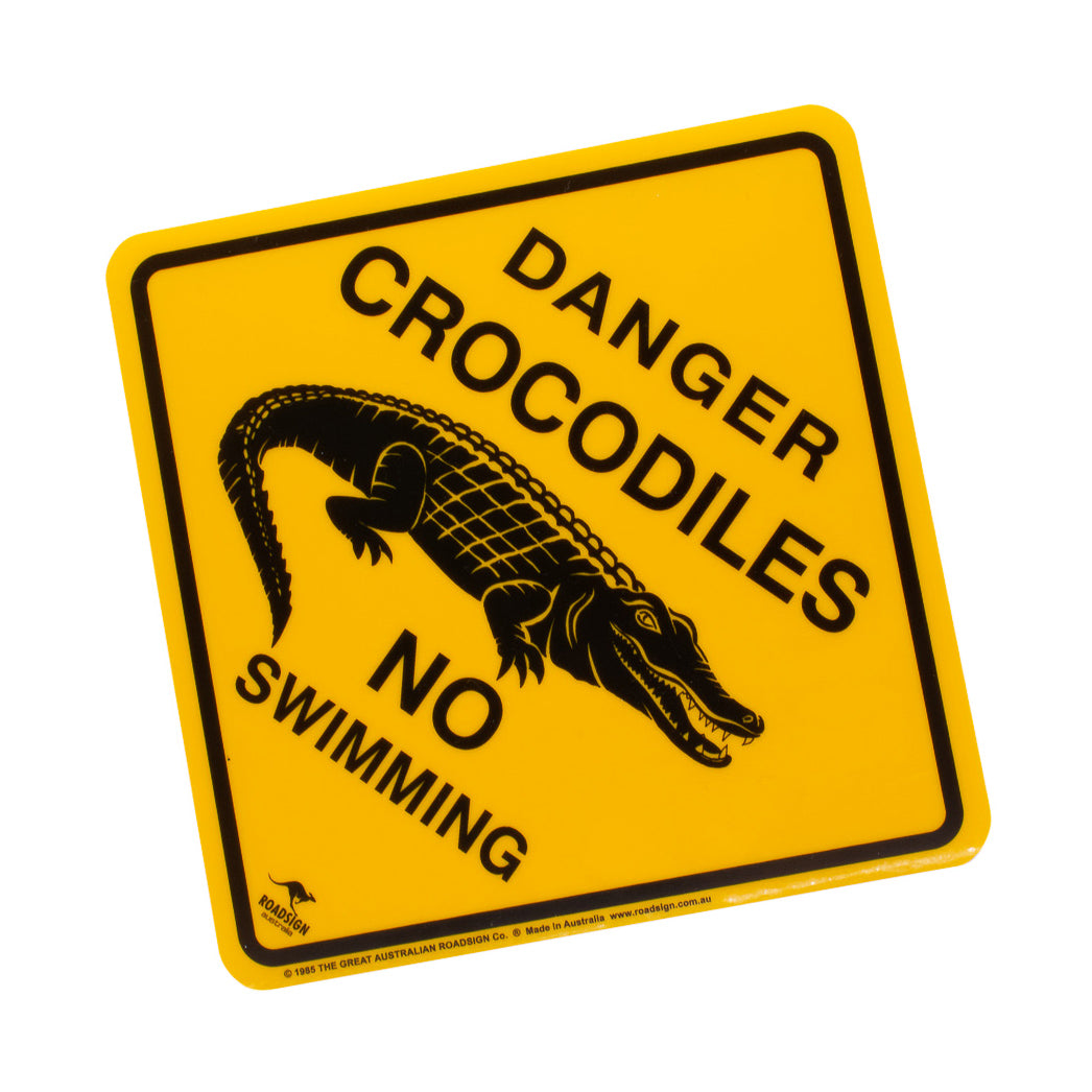 Australian road signs - danger crocodiles - no swimming, small, medium, large-Road signs-Oz About Oz