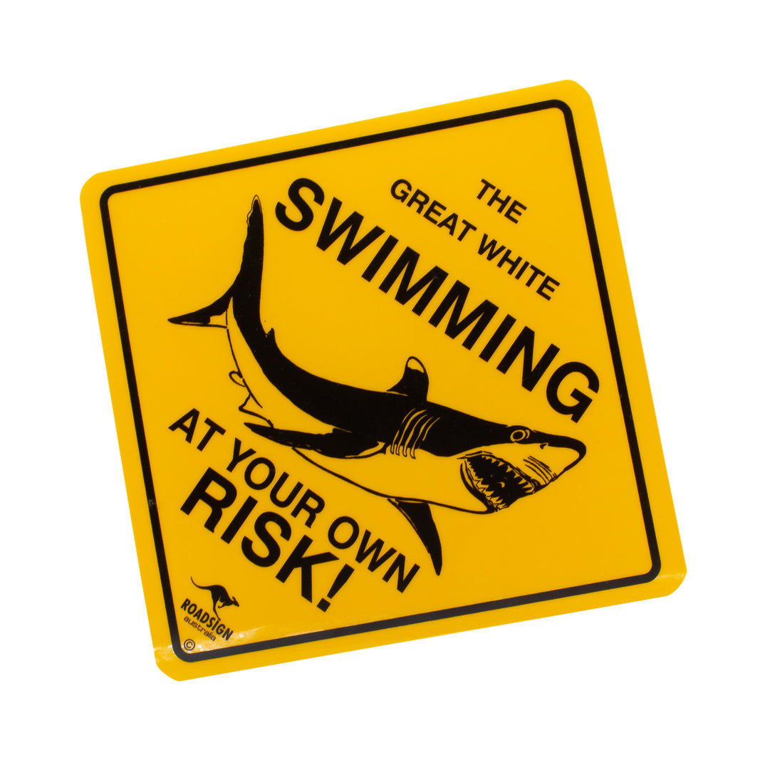Australian road signs - danger white sharks! Small, medium & large sizes-Road signs-Oz About Oz
