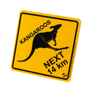 Australian road signs - kangaroos next 14 km - small, medium & large-Road signs-Oz About Oz
