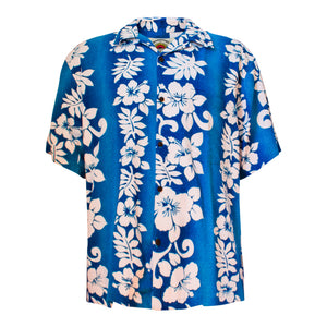 Men's hawaiian shirt - blue & white hibiscus-Oz About Oz