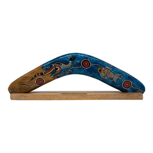 Aboriginal boomerang with display stand - modern / dot kangaroo designs